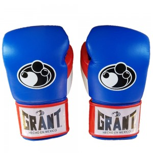 Grant Boxing Gloves Sparring Fight Glove Blue/White/Red 14oz