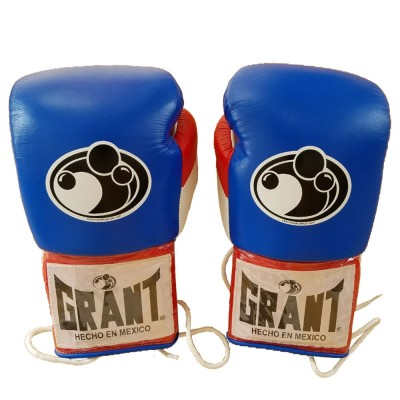 Grant Boxing Gloves Pro Fight with Laces Blue/Red/White 12oz