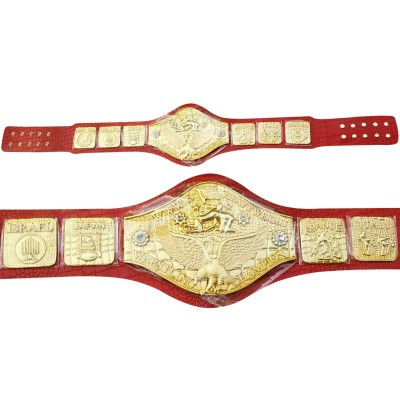 WWWF Backlund Wrestling Championship Belt Crocodile Leather Thick Plated 8mm Adult Red