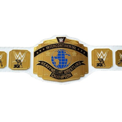 WWE Intercontinental Championship Wrestling Replica Belt Leather Adult White