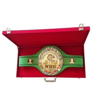 WBC Championship Boxing Belt Jeff Replica 3D Center Plate Genuine Leather Adult with Box